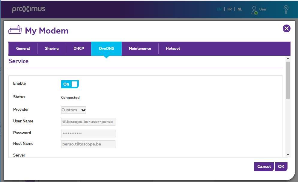 Fournisseur (Provider)   Personnalisé (Custom ) User Name   le nom  d utilisateur défini chez Ovh, donc pour moi   tiltoscope.be-user-perso 8399831fa103