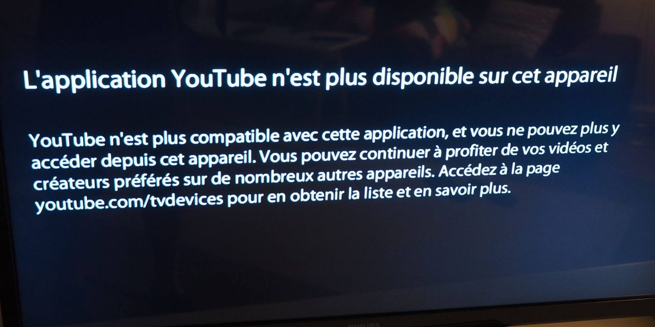 Fin de l'application Flash YouTube pour les téléviseurs