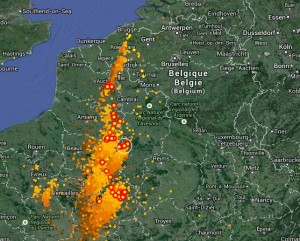 carte orage en direct Carte radar des impacts de foudre   TiltoScope