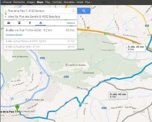 Itinéraire vélo sur Google Maps Belgique